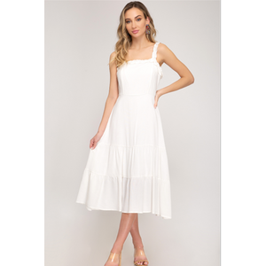 Midi Dress With Ruffle Trim