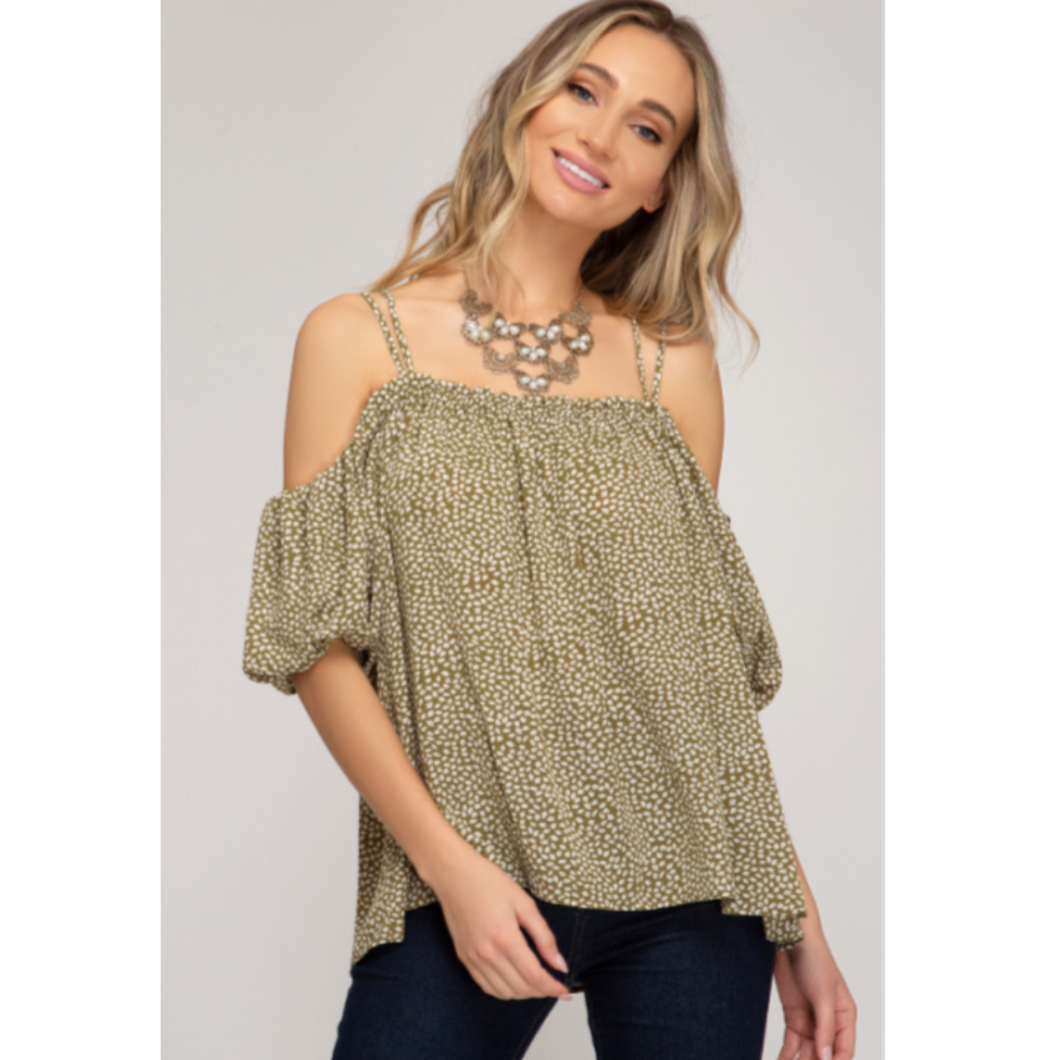 Bubble Sleeve Off Shoulder Top