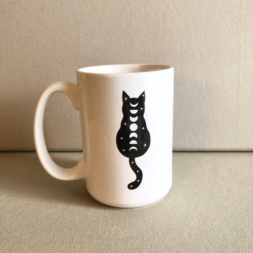 Cosmic Cat Moon Phase Ceramic Mug