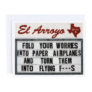 Worries into Paper Airplanes Card