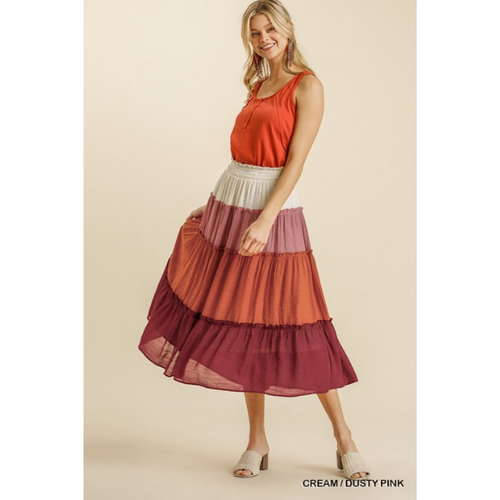 Tiered Colorblock Skirt