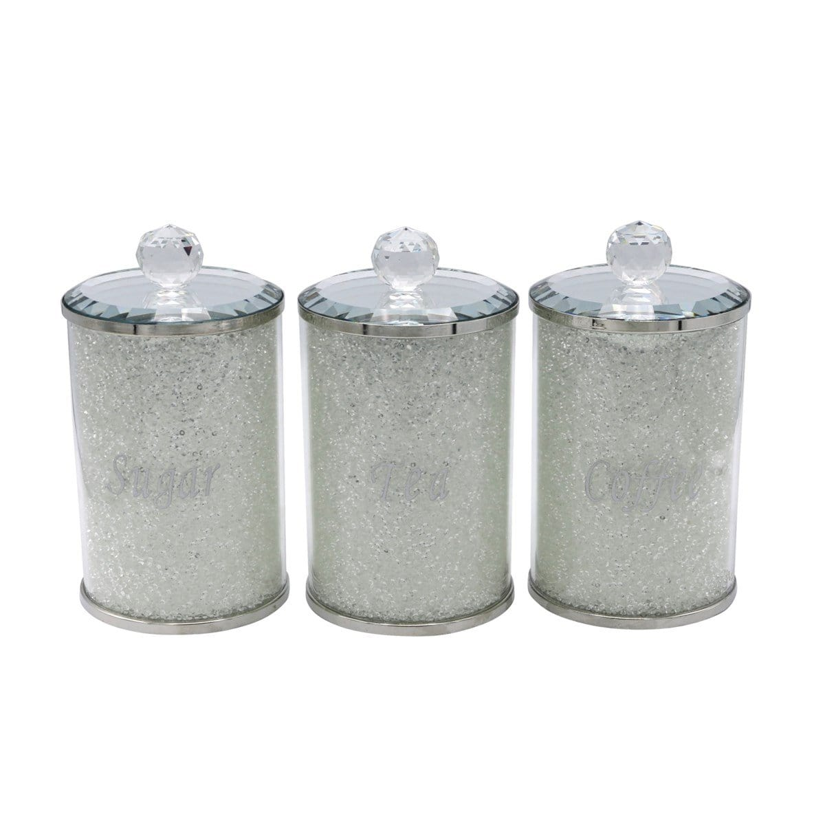 "3PC 6"" Crystal Filled Canister Set"
