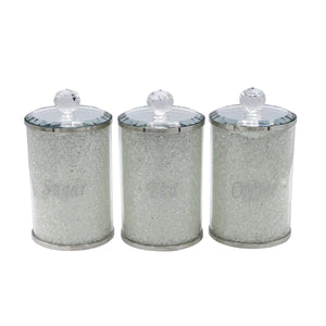 3PC Tall Crystal Filled Canister Set
