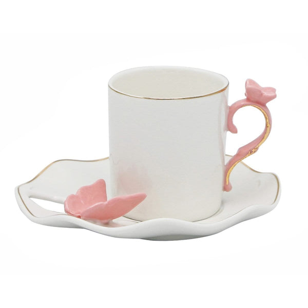 Pink Butterfly Espresso Coffee Cup Set