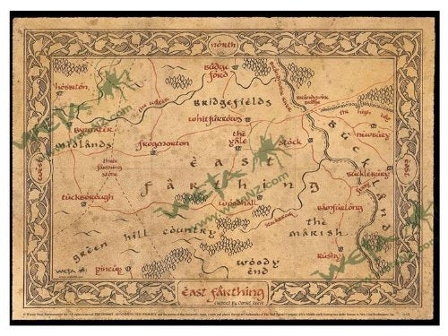 The Hobbit LOTR Map of East Farthing Parchment