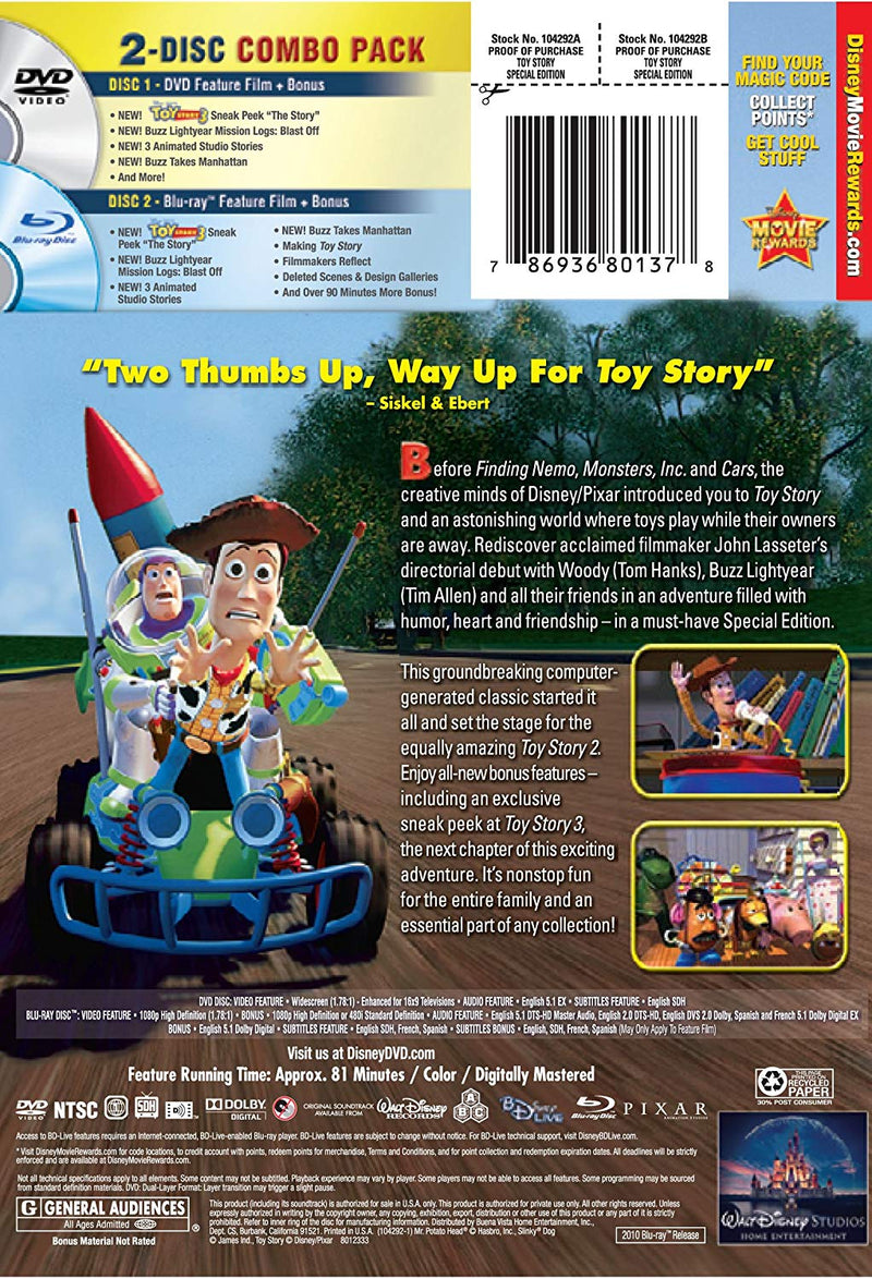 Toy Story (Two-Disc Special Edition Blu-ray/DVD Combo w/ DVD Packaging) (1995)