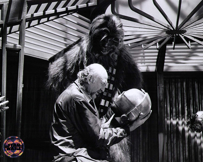 Star Wars Empire Strikes Back Kershner and Chewbacca on set B & W Print Photo