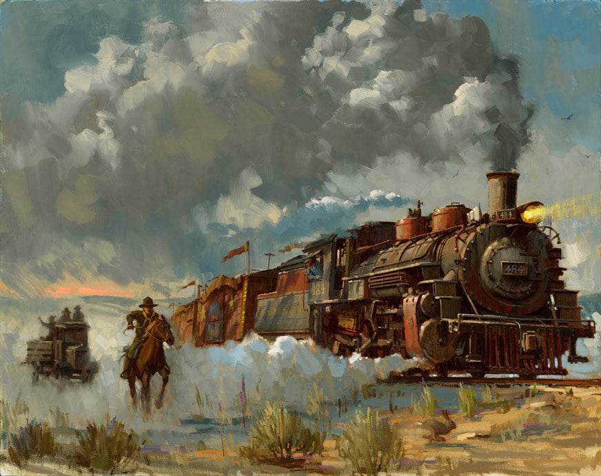 "Indiana Jones and the Last Crusade ""Chasing the Iron Horse"" Giclee on Canvas by David Tutwiler"