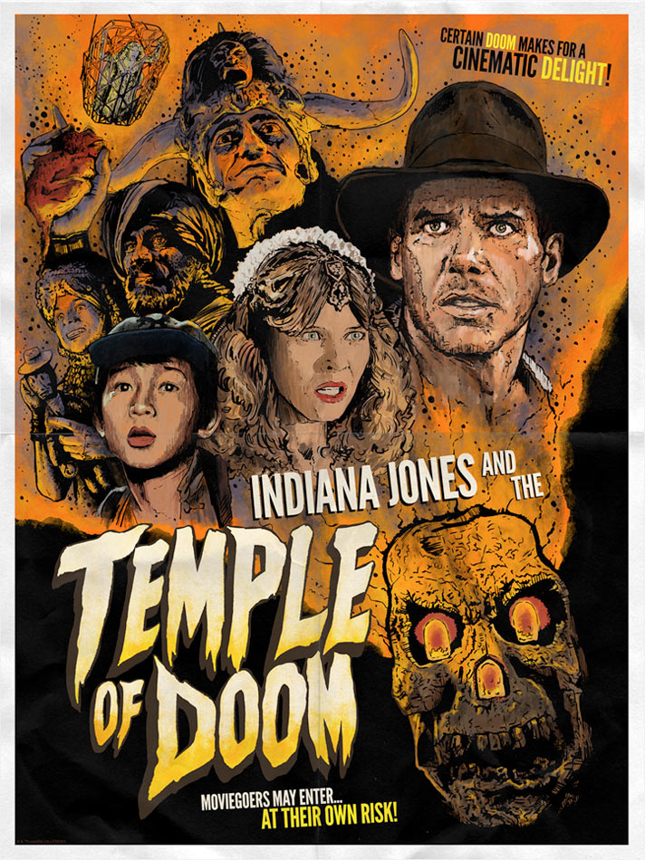 "Inidiana Jones and the Temple of Doom ""Certain Doom"" Lithograph by J.J. Lendl"