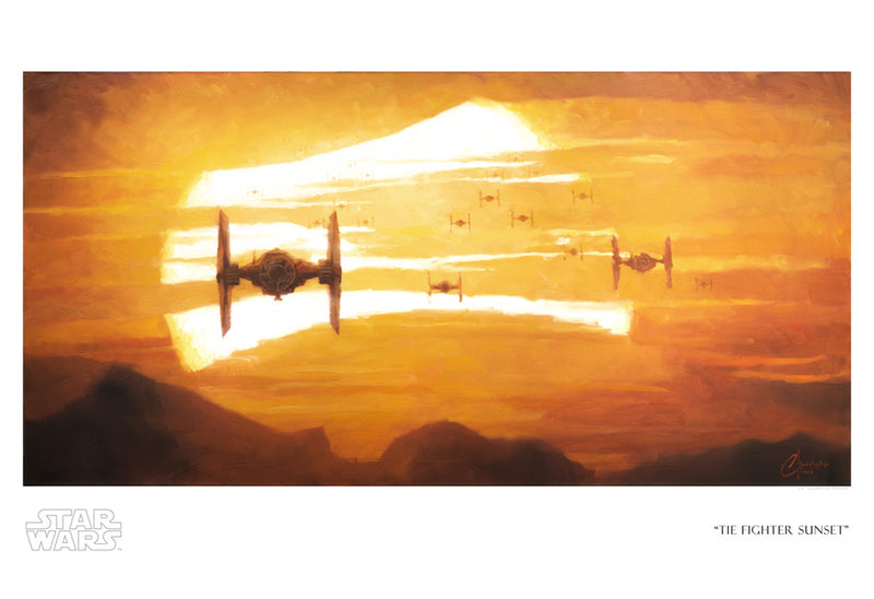 "Star Wars The Force Awakens ""TIE Fighter Sunset"" Giclee on Paper by Christopher Clark"