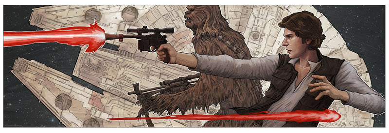 "Star Wars A New Hope ""Smiles Lies and Blasters"" Lithograph by Brent Woodside"