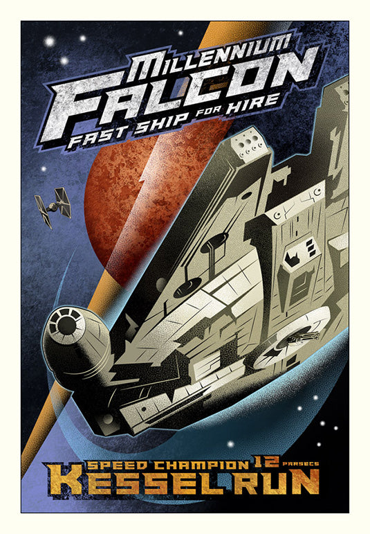"Copy of Star Wars Millennium Falcon ""Kessel Run"" Giclee on Canvas by Mike Kungl"