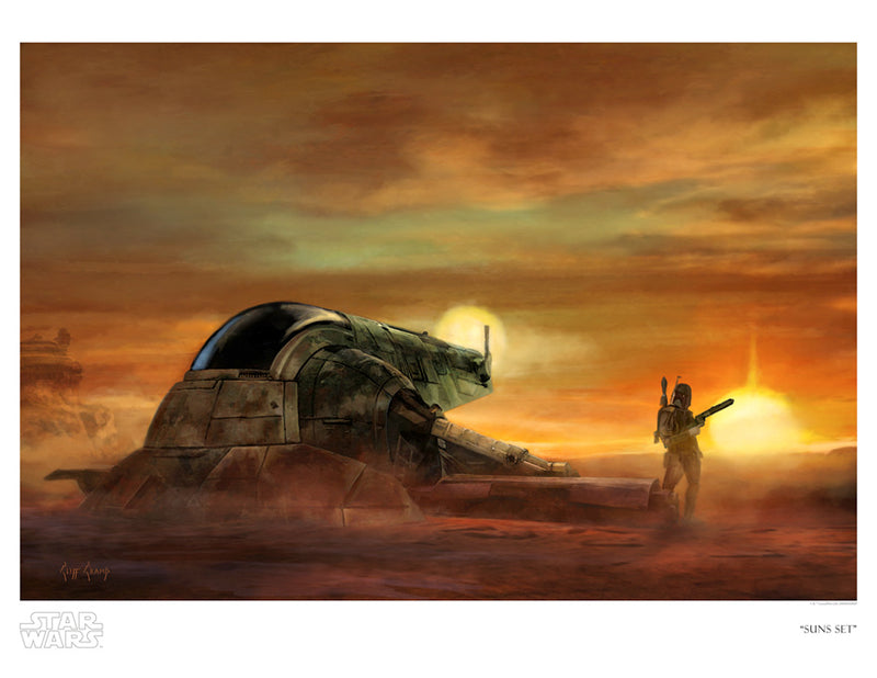 "Star Wars Return of the Jedi Boba Fett ""Suns Set"" Giclee on Paper by Cliff Cramp"