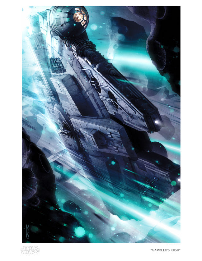 "Star Wars Millennium Falcon ""Gambler's Rush"" Giclee on Paper by Raymond Swanland"