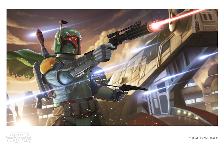 "Star Wars Boba Fett with Slave 1 ""Deal Gone Bad"" Giclee on Paper by Jon Siva"