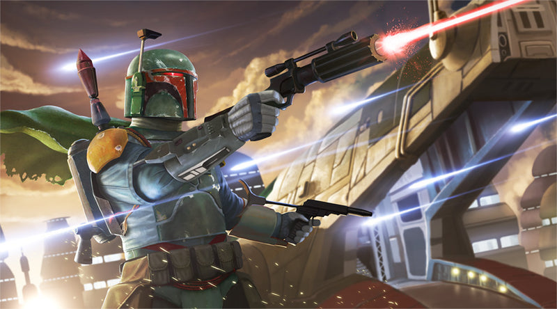 "Star Wars Boba Fett with Slave 1 ""Deal Gone Bad"" Giclee on Canvas by Jon Siva"