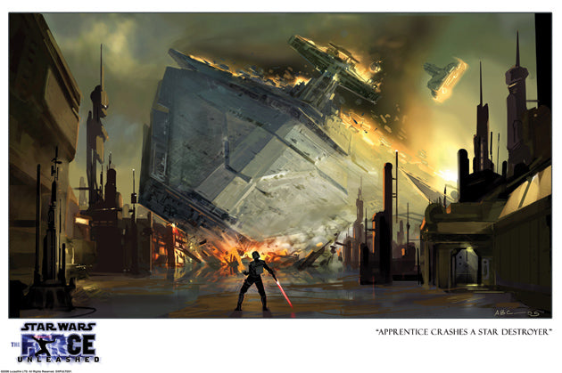 Star Wars Apprentice Crashes Destroyer Giclee on Paper by Amy Beth Christenson