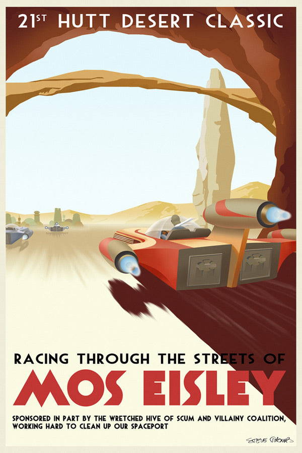 Star Wars Travel Poster Racing Through... Giclee on Canvas by Steve Thomas