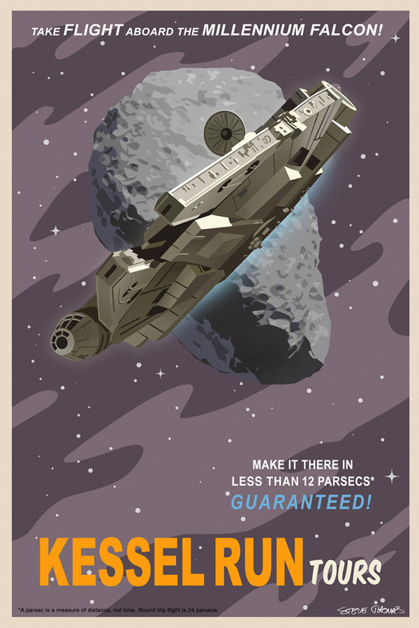 "Star Wars Travel Poster ""Kessel Run Tours"" Canvas Wrapped Print by Steve Thomas"