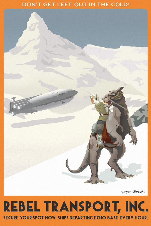 "Star Wars Travel Poster ""Hoth Rebel Transport"" Canvas Wrapped Print by Steve Thomas"