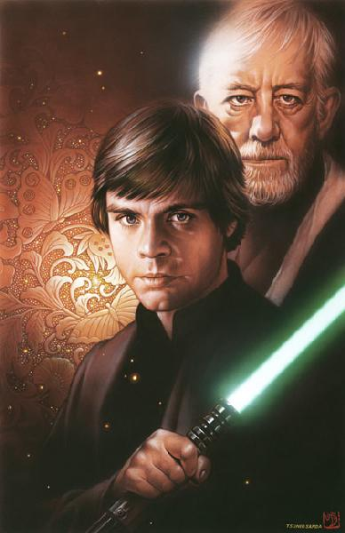 "Star Wars Luke Skywalker and Obi-Wan Kenobi ""Luke and Obi-Wan"" Giclee on Paper by Tsuneo Sanda"