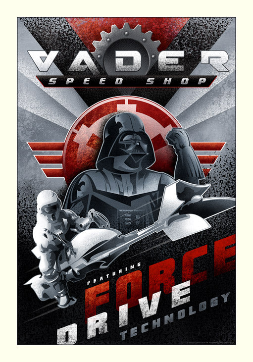 "Star Wars Darth Vader ""Vader Speed Shop"" Giclee on Paper by Mike Kungl"