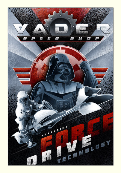 "Star Wars Darth Vader ""Vader Speed Shop"" Giclee on Canvas by Mike Kungl"