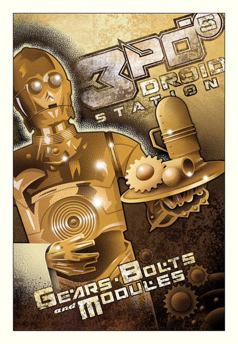 "Star Wars ""3PO's Droid Station"" Giclee on Paper by Mike Kungl"