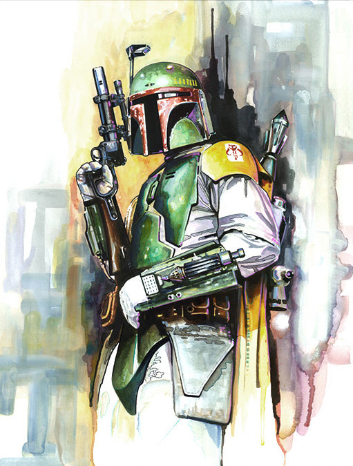 "Star Wars Boba Fett ""On the Hunt"" Giclee on Canvas by Brian Rood"