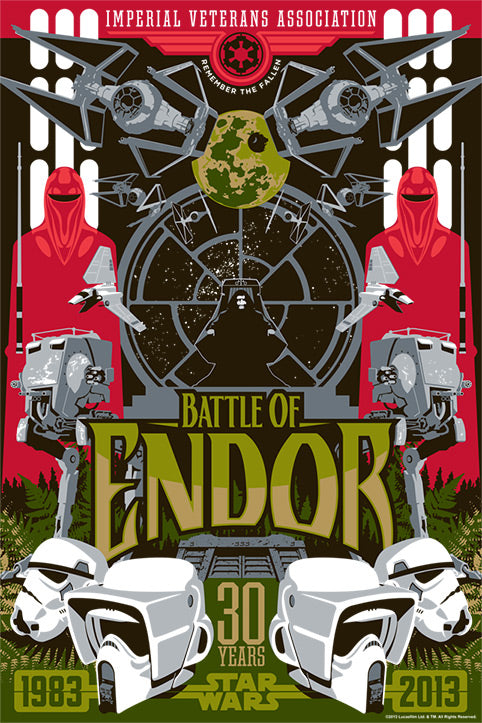 Star Wars Battle of Endor Giclee on Paper by Mark Daniels