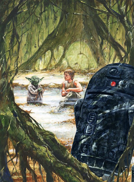"Star Wars Luke Skywalker and Yoda on Dagobah ""The Lesson"" Giclee on Canvas by Kim Gromoll"
