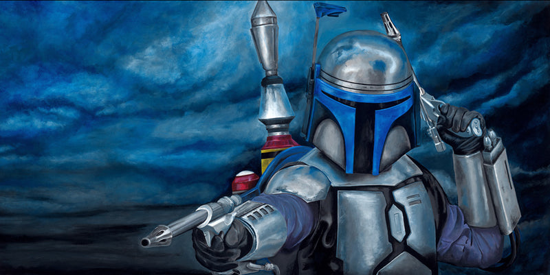 "Copy of Star Wars Jango Fett ""Merciless"" Giclee on Canvas by Greg Lipton"