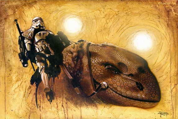 "Star Wars A New Hope ""Dewback"" Giclee on Canvas by Brian Rood"