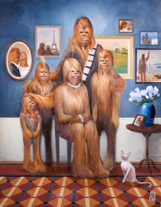 "Star Wars Chewbacca ""Wookiee Family Portrait"" Giclee on Canvas by Maya Gohill"