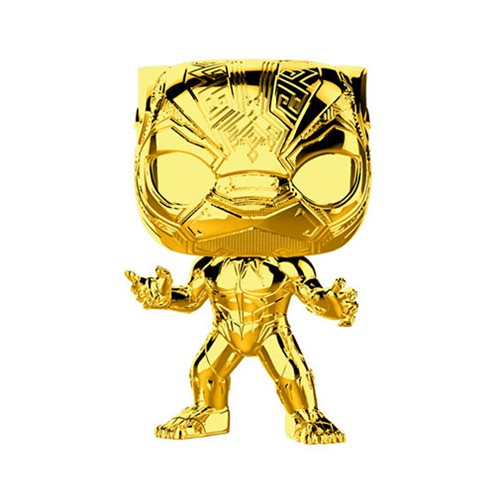 Preorder Marvel Studio's 10th Anniversary Chrome Black Panther Pop! Vinyl Figure #383