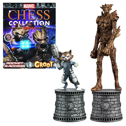 Marvel Rocket Raccoon and Groot Bishop Chess Pieces with Collector Magazine #2