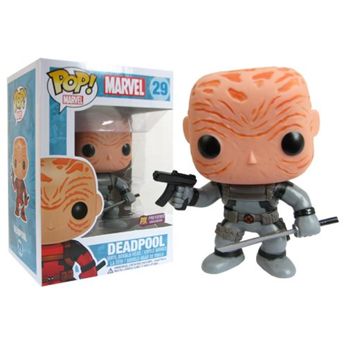 Deadpool Maskless Grey Suit Marvel Pop! Vinyl Bobble Head - Previews Exclusive