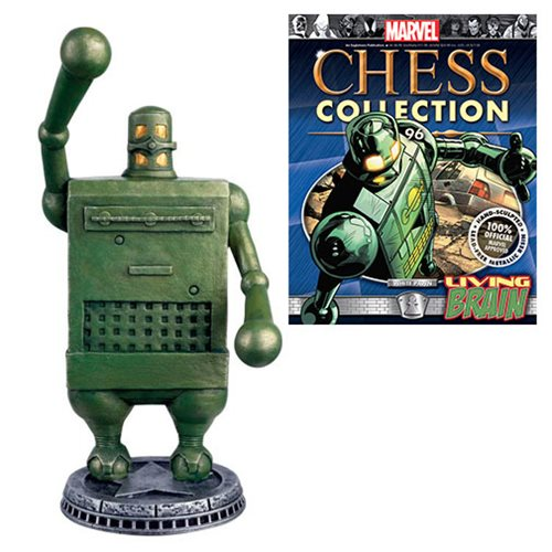 Marvel Living Brain White Pawn Chess Piece with Magazine #96 - Toy Wars - Eaglemoss