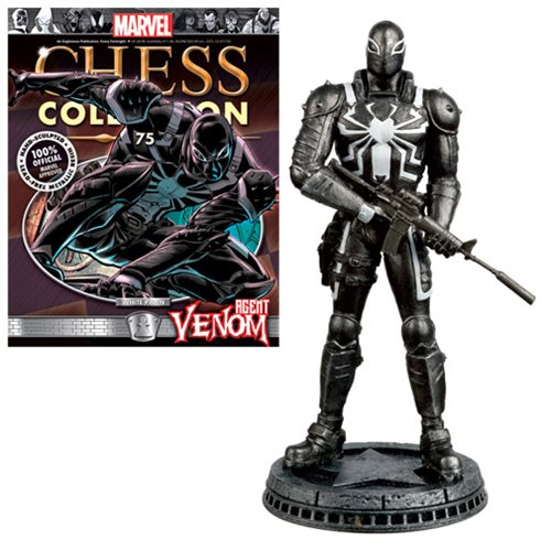 Marvel Agent Venom White Pawn Chess Piece with Collector Magazine #75 - Toy Wars - Eaglemoss
