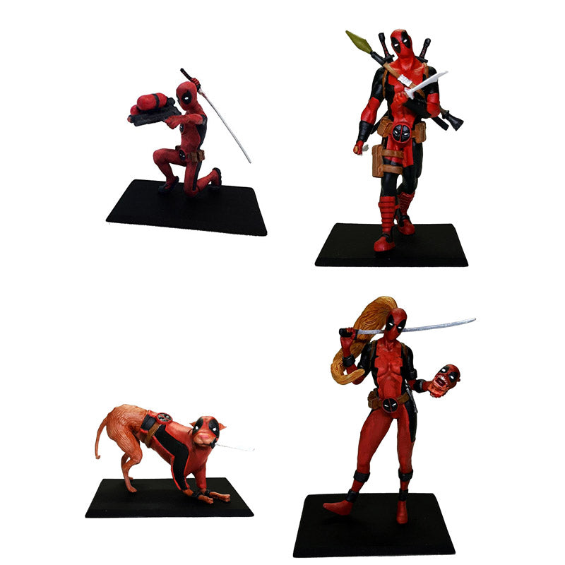 Deadpool Metal Miniature Mini Figures Set of 4 - Lady - Dogpool - Kidpool