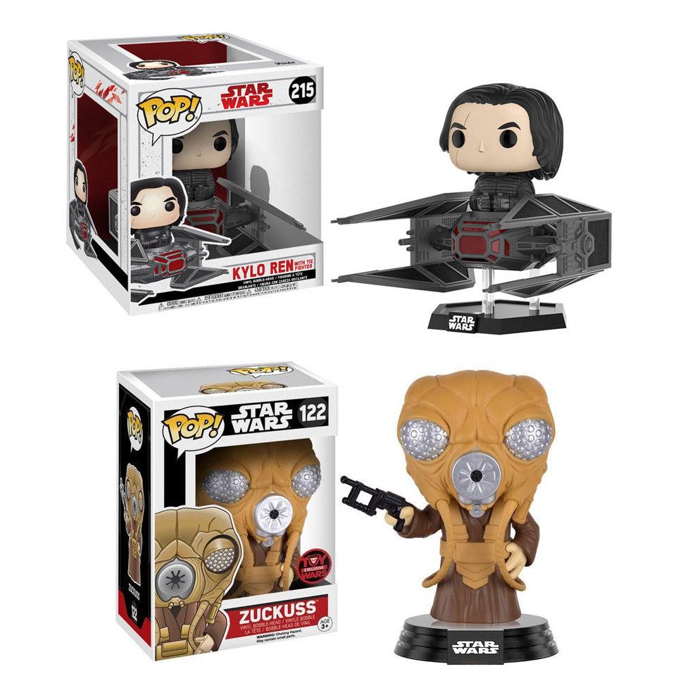 Preorder  Star Wars: The Last Jedi Kylo Ren in TIE Fighter Deluxe Pop! Vinyl Bobble Head #215 and Zuckuss