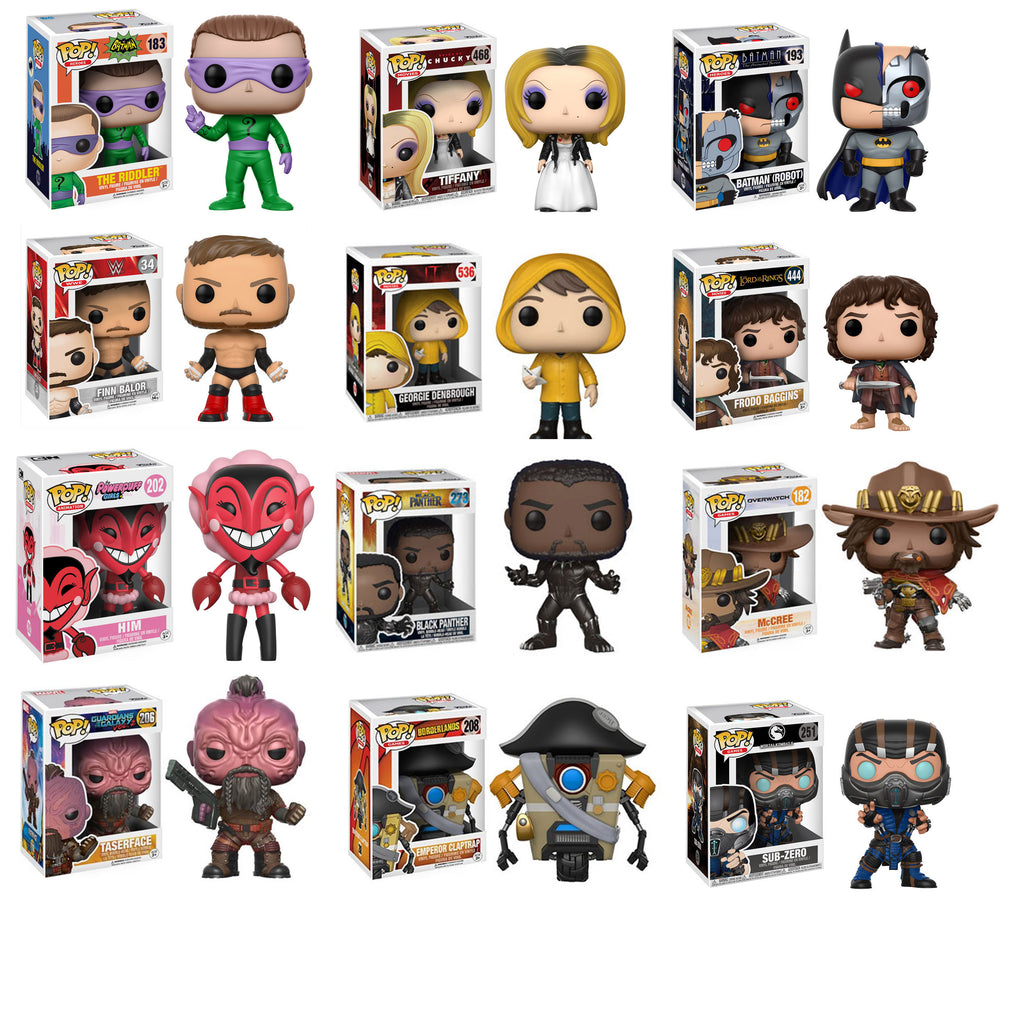12 POP! Bundle - Riddler, Tiffany, Finn Balor, Frodo, Black Panther, Sub Zero