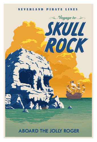 Peter Pan Skull Rock Giclee on Paper Travel Poster
