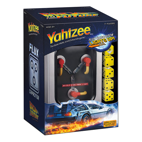 Back to the Future Light Up Flux Capacitor Yahtzee Game with Custom Dice