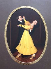 Mila Lansdowne with her Ballroom Partner wearing her own creation of a ballroom gown.