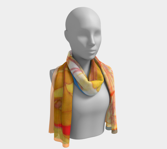 Image of Sunny Afternoon (on blue-apricot): 100% SILK: Mila Lansdowne Designer Scarf.