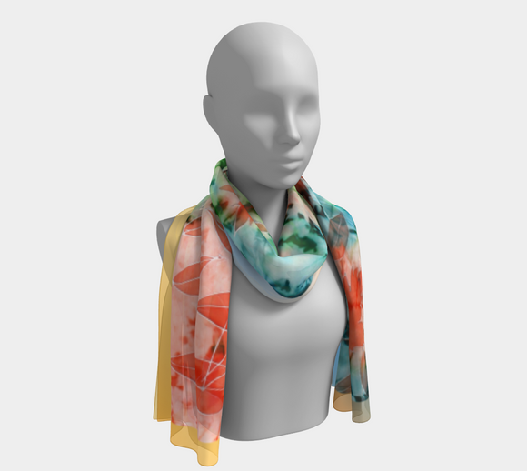 image of Maple Leaves - blue apricot 100% SILK Mila Lansdowne Designer scarf.