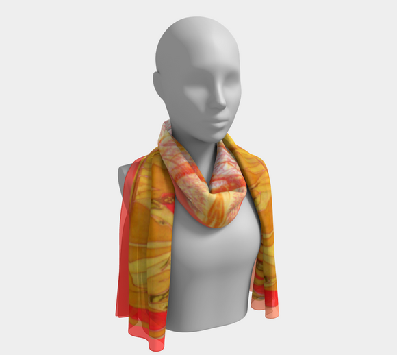 Image of Sunny Afternoon (mirrored on red-apricot): 100% SILK - Mila Lansdowne Designer Scarf.