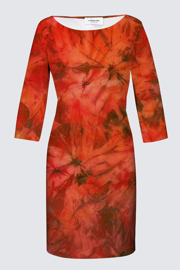 Image of a fitted designer MILA DRESS with 3/4 Sleeves depicting the original Mila Lansdowne silk painting called