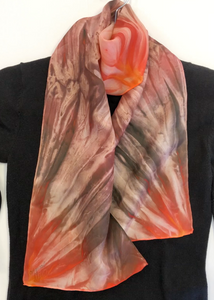 Fire & Earth Color-Energy: Hand-painted One of a kind 100% Silk MILA Lansdowne Scarf